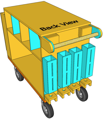 Back View Drawing of Cart