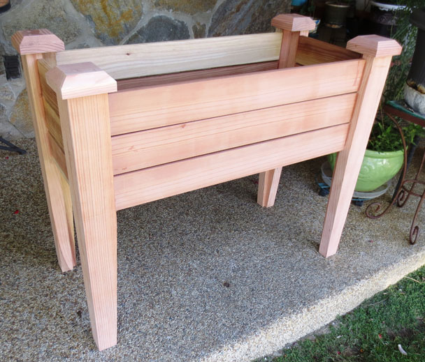 Front and Side View of the Elevated Planter Box