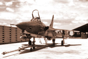 An F-105 with tow bar attached