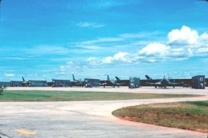 F-105s and F-4s Parked in Revetments