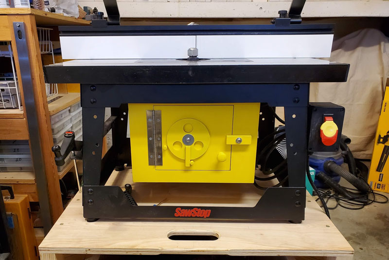 Front of the Dust Collection Box Mounted Under a SawStop Benchtop Router Table