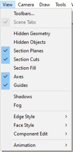 List of Selected Items in the View Menu