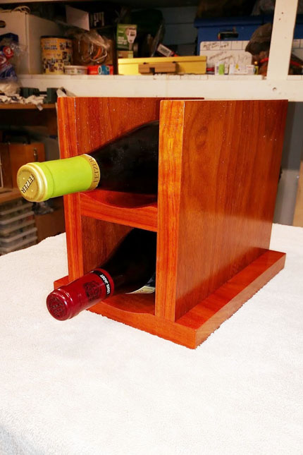 Front of Wine Rack with Two Bottles